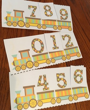 Counting to 10 Task Card Game with Number Tiles - Train Th