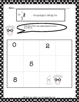 Counting to 10 by 1's Worksheet