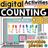 Counting to 10 for Google Classroom Activities DISTANCE LEARNING