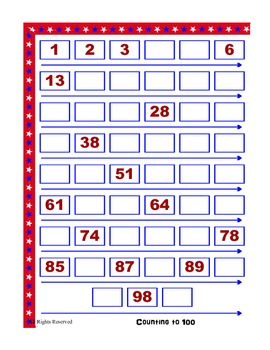 Counting to 100 - Missing Numbers File Folder Activity - Easy to Create Activity