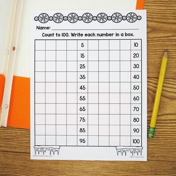 Counting to 100 Winter Worksheets - 1.NBT.1