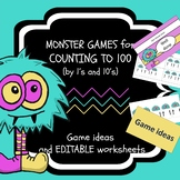 Counting to 100 by 1's and 10's Game and editable worksheets