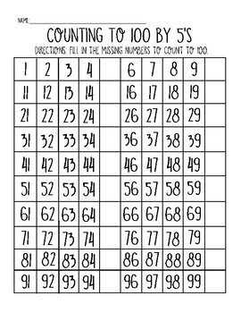 Counting to 100 by 2's, 5's, and 100's Worksheet Pack