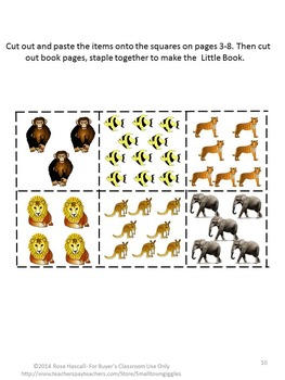Zoo Count to 12 Cut and Paste Little Book P-K,P, Special Education Fine Motor