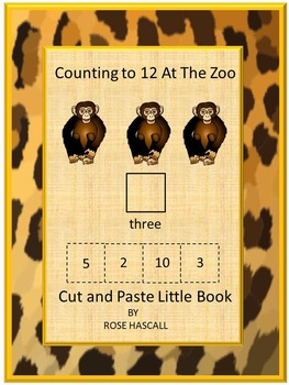 Zoo Counting to 12 Cut and Paste Little Book Math Printabl