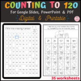 Counting to 120 Worksheets Digital Printable Google Slides
