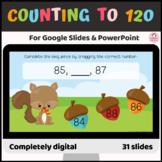 Counting to 120 digital activities drag type Google Slide