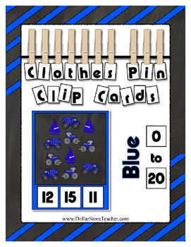 Counting to 20 Clip Card Clothes Pin Set ~ Focus color for this set is Blue