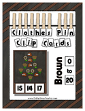 Counting to 20 Clip Card Clothes Pin Set ~ Focus color for this set is Brown