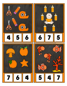 Counting to 20 Clip Card Clothes Pin Set ~ Focus color for this set is Orange