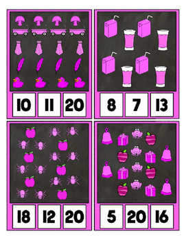 Counting to 20 Clip Card Clothes Pin Set ~ Focus color for this set is Pink