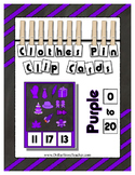 Counting to 20 Clip Card Clothes Pin Set ~ Focus color for this set is Purple