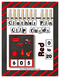 Counting to 20 Clip Card Clothes Pin Set ~ Focus color for this set is Red