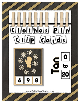Counting to 20 Clip Card Clothes Pin Set ~ Focus color for this set is Tan