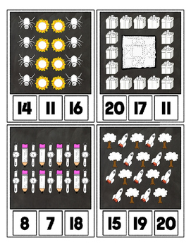 Counting to 20 Clip Card Clothes Pin Set ~ Focus color for this set is White