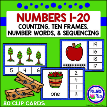 Numbers 1-20 Clip Card Bundle: Apples