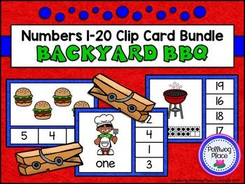 Numbers 1-20 Clip Card Bundle: Backyard BBQ