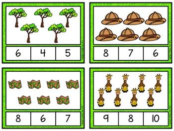 Counting to 20 Clip Cards: Safari Fun