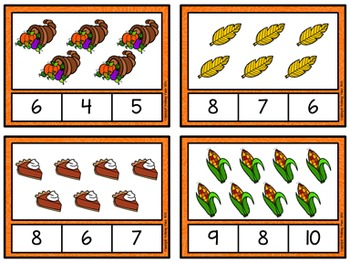 Counting to 20 Clip Cards: Thanksgiving