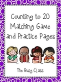 Counting to 20 Matching Game and Practice Pages
