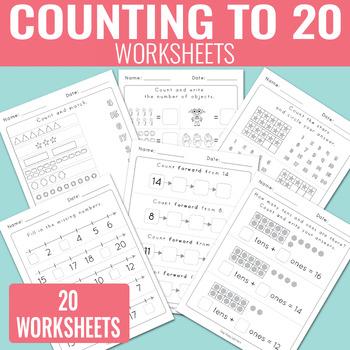 Counting to 20 Worksheets - Kindergarten