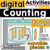 Counting to 20 for Google Classroom Activities DISTANCE LEARNING