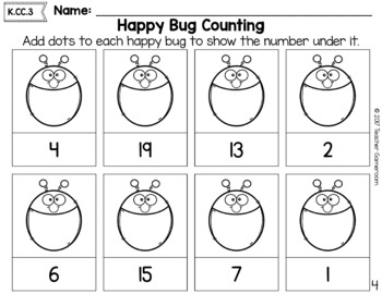 Counting to 20 with Happy Bugs Coloring Activity