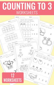 Counting to 3 Worksheets - Kindergarten