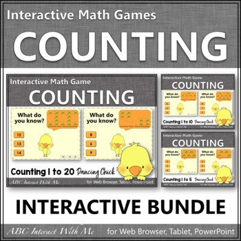 Counting to 5, 10 and 20 Interactive Math Games Bundle {Dancing Chick}