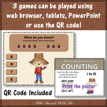 Counting to 5, 10 and 20 Interactive Math Games Bundle {Dancing Scarecrow}