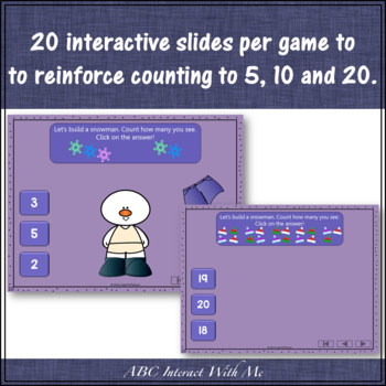 Counting to 5, 10 and 20 Interactive Math Games Bundle {Dress the Snowman}
