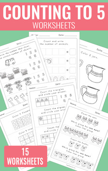 Counting to 5 Worksheets - Kindergarten
