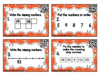 Counting to 60 Task Cards: 1st Grade Common Core: Extend the Counting Sequence