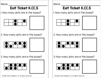 Counting to Find How Many Objects Math Tasks and Exit Tickets
