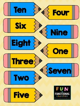 Counting to Number-Word Match File Folder Game