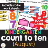 Counting to Ten (10) Kindergarten Math Worksheets & Boom B