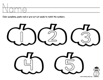 Counting to five - Pumpkin Seeds