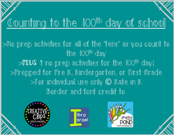Counting to the 100th day of school! An activity for every