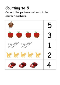 Counting to 5  -  cut and sort