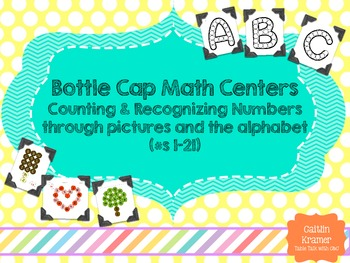 Bottle Caps Math Centers {Number Recognition 1-21}
