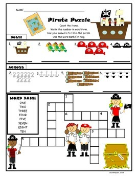 Counting/Number Crossword Puzzle-Pirate Theme