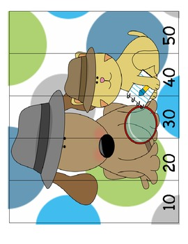 Counting/Skip Counting Detective Sam Leveled Number Puzzlers (6 Puzzles)
