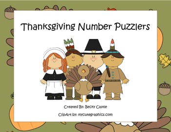 Thanksgiving Activities - Counting/Skip Counting Leveled Number Puzzlers