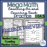 Countng On and Counting Back Mega Math Practice 1.OA.5 Fre