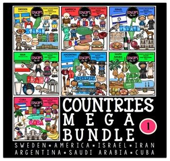 Countries 1 Clip Art Mega Bundle {Educlips Clipart}