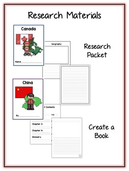 Countries #1 Research Project - 12 Packs - Vocab Cards, Packet, Book & More