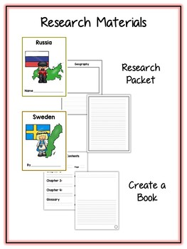 Countries #3 Research Project - 11 Packs - Vocab Cards, Packet, Book & More