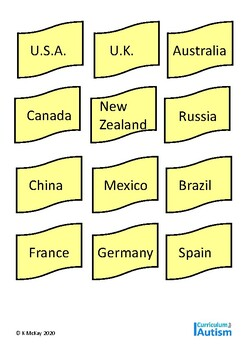 Autism Sorting Skills Countries & Cities  Geography, Special Education