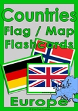 Countries Flag & Map Flashcards - Europe