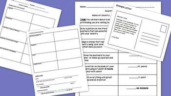 Countries Postcard Research Project Includes Note sheet, Example, and Rubric